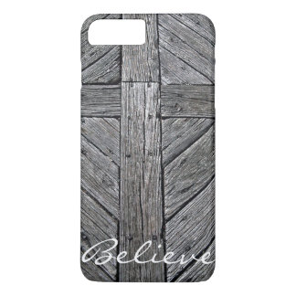 Monograma de madera rústico cruzado cristiano funda iPhone 7 plus