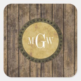 Monograma de madera rústico de los tablones #1 pegatina cuadrada