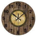 Monograma de madera rústico de los tablones #1 reloj redondo grande