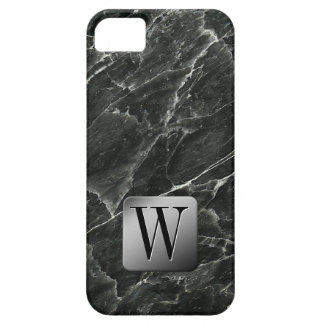 MONOGRAMA de mármol negro iPhone 5 Funda