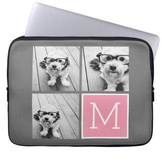 Monograma de moda del personalizado del collage de funda portátil