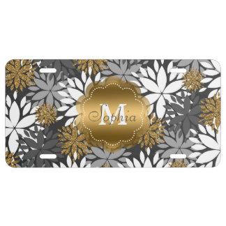 Monograma de moda femenino hermoso floral placa de matrícula