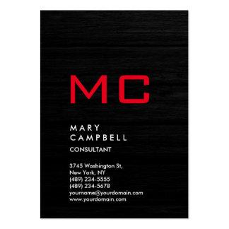 Monograma de moda rojo de madera gris vertical tarjetas de visita grandes