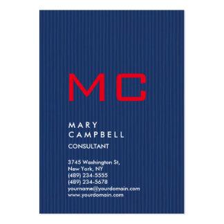 Monograma de moda vertical del rojo azul tarjetas de visita grandes