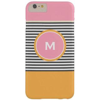 Monograma de muy buen gusto anaranjado rosado funda de iPhone 6 plus barely there