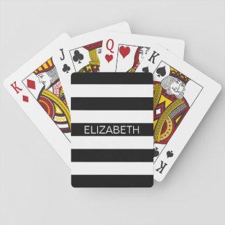 Monograma de muy buen gusto blanco negro del baraja de póquer