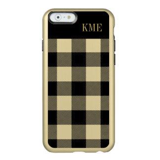 Monograma de muy buen gusto del control del oro y funda para iPhone 6 plus incipio feather shine