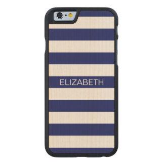 Monograma de muy buen gusto del nombre de la raya funda de iPhone 6 carved® de arce