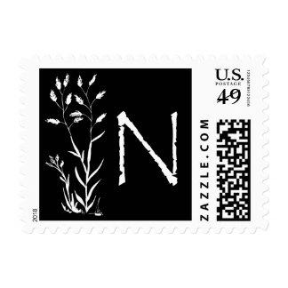 Monograma de N (planta negra de la lavanda) Envio