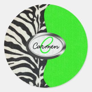 Monograma de neón fresco del verde y del estampado pegatina redonda