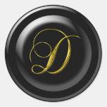 Monograma de oro de D Pegatina Redonda