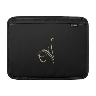 Monograma de oro de la inicial V Fundas Macbook Air
