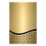 Monograma de oro de lujo atractivo del damasco  papeleria