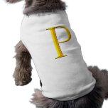 Monograma de oro de P Camisa De Perro