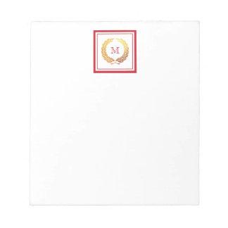 Monograma de oro del navidad de la guirnalda libreta para notas