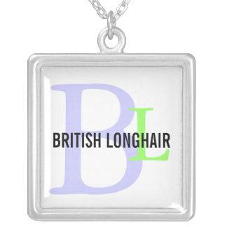 Monograma de pelo largo británico colgante cuadrado