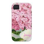 Monograma de PixDezines, Hydrangea rosado del vint Case-Mate iPhone 4 Funda