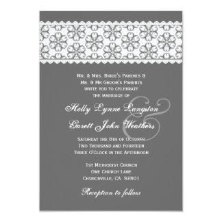 """Monograma de plata 23D del boda del parte movible Invitación 5"""" X 7"""""""