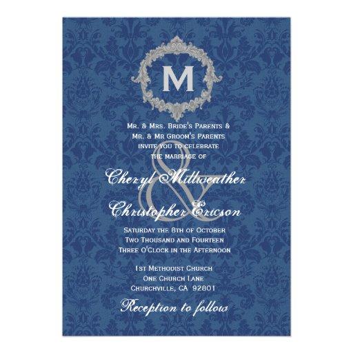 Monograma de plata blanco azul del vintage que cas comunicado