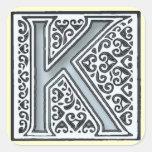 monograma de plata de las tejas de mosaico - calcomanías cuadradas personalizadas