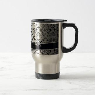 Monograma de plata de lujo atractivo del damasco taza de café