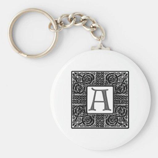 "Monograma de plata del Celtic ""A"" Llavero Redondo Tipo Pin"