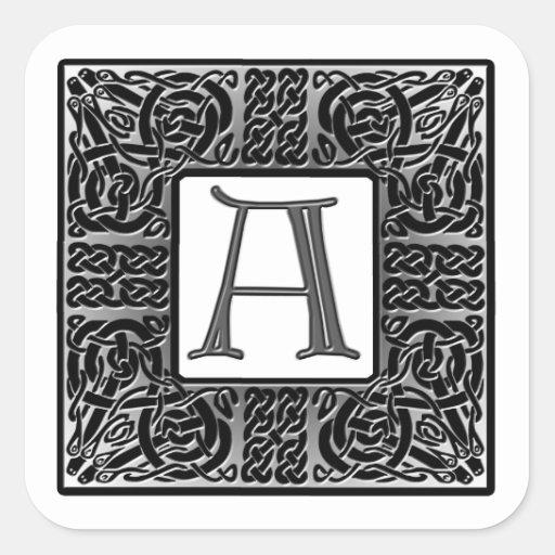 """Monograma de plata del Celtic """"A"""" Pegatina Cuadrada"""