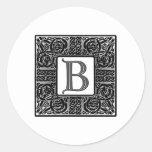 "Monograma de plata del Celtic ""B"" Etiqueta Redonda"