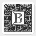 """Monograma de plata del Celtic """"B"""" Pegatinas Cuadradases"""