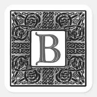 """Monograma de plata del Celtic """"B"""" Pegatina Cuadrada"""