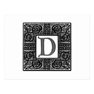"""Monograma de plata del Celtic """"D"""" Tarjetas Postales"""