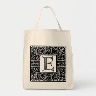 """Monograma de plata del Celtic """"E"""" Bolsa Tela Para La Compra"""