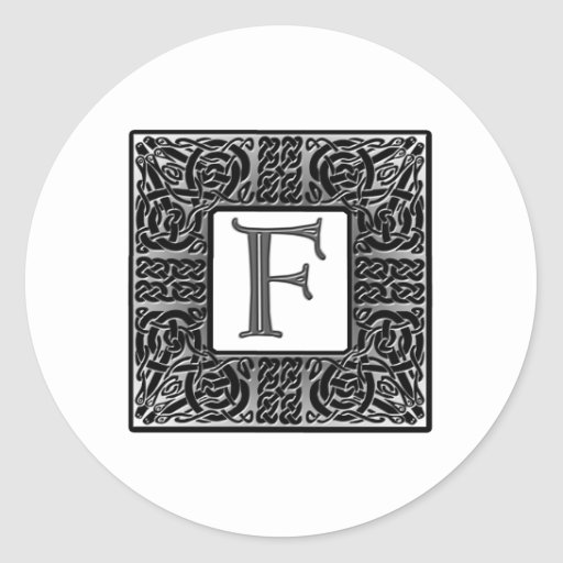 """Monograma de plata del Celtic """"F"""" Pegatina"""