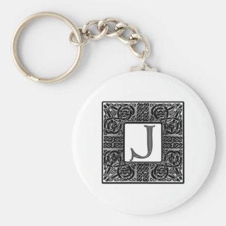 """Monograma de plata del Celtic """"J"""" Llaveros Personalizados"""