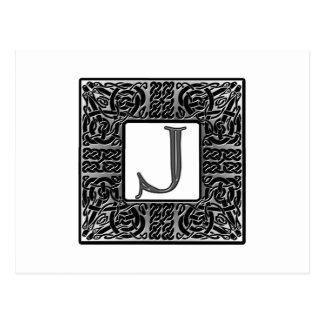 """Monograma de plata del Celtic """"J"""" Postal"""