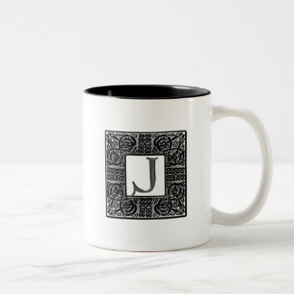 "Monograma de plata del Celtic ""J"" Tazas De Café"