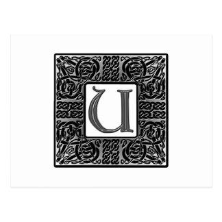 """Monograma de plata del Celtic """"U"""" Postal"""