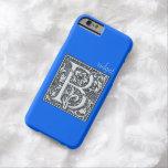 monograma de plata del flourish - B Funda De iPhone 6 Barely There