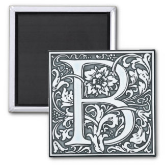 monograma de plata del flourish - B Imán Cuadrado