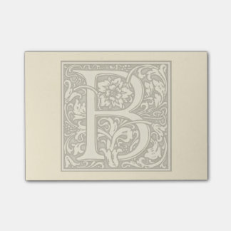 monograma de plata del flourish - B Notas Post-it