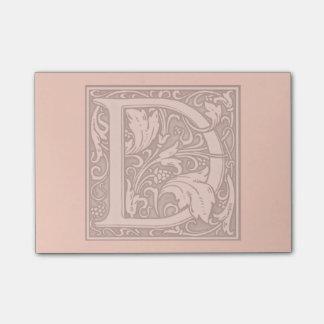 monograma de plata del flourish - D Nota Post-it
