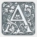 monograma de plata del flourish calcomanías cuadradass