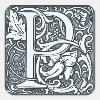 monograma de plata del flourish pegatina cuadradas