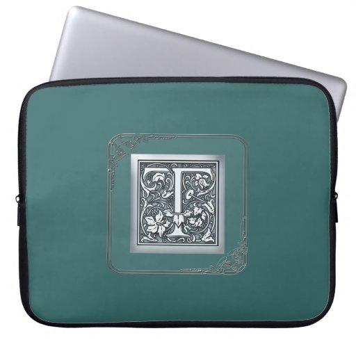 monograma de plata del flourish - T Mangas Computadora
