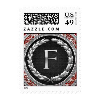 """Monograma de plata del vintage de """"F"""" Estampillas"""