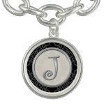 Monograma de plata elegante de la inicial J Pulseras Con Dijer