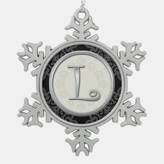 Monograma de plata elegante L navidad Adorno De Peltre En Forma De Copo De Nieve