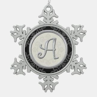 Monograma de plata elegante navidad adorno