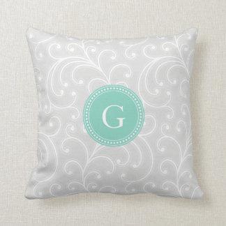 Monograma de plata femenino elegante del estampado almohada