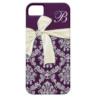 Monograma de plata púrpura elegante del arco del iPhone 5 cárcasa